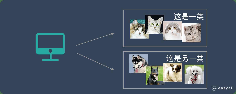 机器可以将猫和狗分开,但是并不知道哪个是猫,哪个是狗
